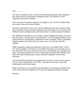 Complaint Letter To Landlord About Noisy Neighbors