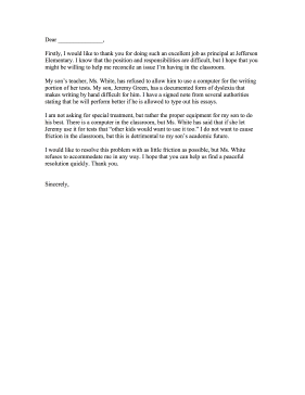 Sample Letter To Principal From Parent