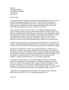 how to write a medical complaint letter sample